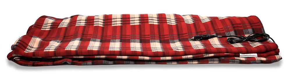 Camco 42804 Electric Heated Fleece Blanket - Plaid Red