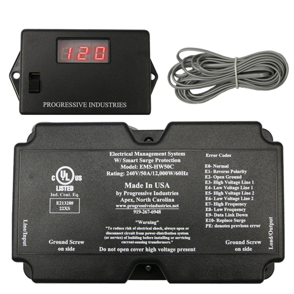 Progressive Industries Ems Hw50c Hardwire 50 Amp Rv Surge Protector W Remote Display