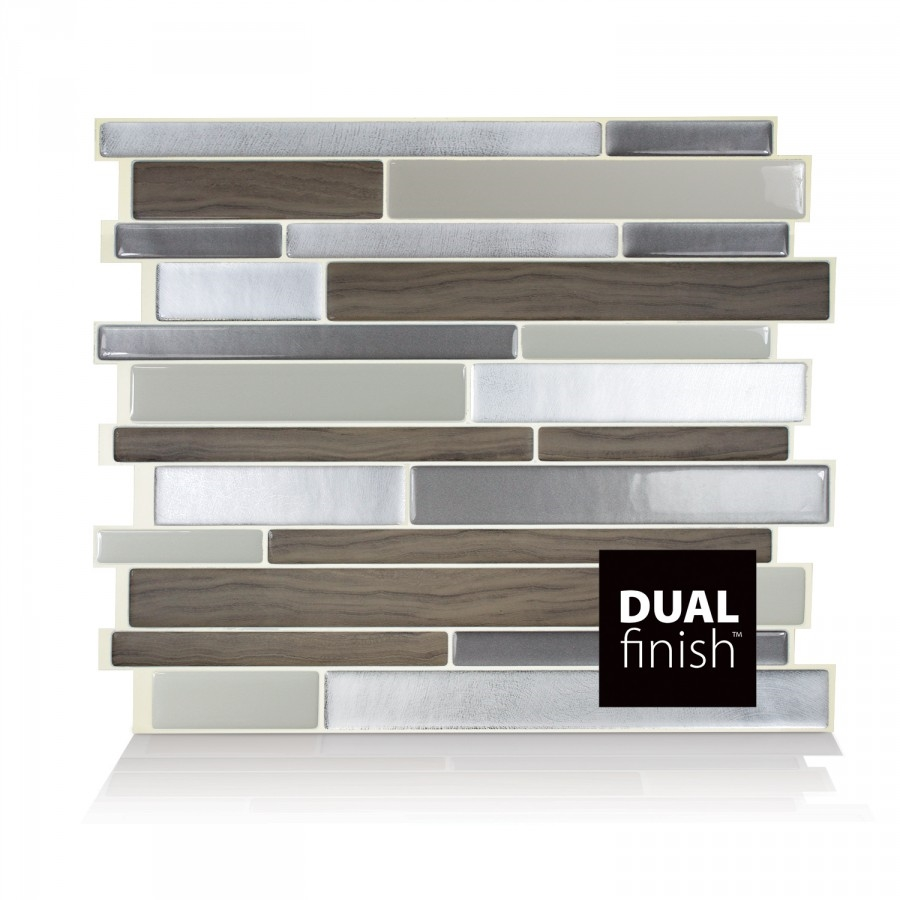 - Smart Tiles SM-1050-4 Peel And Stick Mosaic Tile RV Backsplash - Milano  Argento Grey