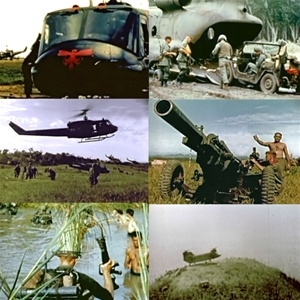 Photos from the Vietnam War: Huey and Chinook Helicopters,  air mobile infantry wading through deep swamps  and air dropped field artillery.