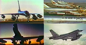 Color photos of Convair B-58 and TB-58 Hustler supersonic jet bombers, holder of numerous international speed and altitude records, both on the ground and in the air as part of the Strategic Air Command.