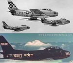 Photos of the North American F-86 Sabre jet fighter and its carrier borne Navy variant, the FJ2.