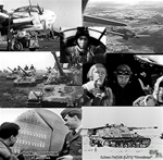 World War 2 still photos taken from German Newsreels including Junkers JU 88 bombers, Focke Wulf FW 190 fighter bombers over Russia, King Tiger Tanks, Luftwaffe night fighter ace Leopold Fellerer, and Panzerjager Hornisse (Hornets) armed with 88s