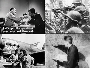 Still photos from films Interrogation of Enemy Airmen 1943, Merrill's Marauders and the 88th Fighter Squadron in Burma, and Operation Carpetbagger: Air Dropping Agents and Supplies into Nazi Occupied Europe,  shot during World War 2.
