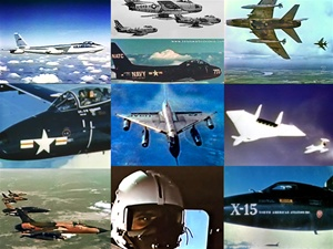 Color photos of North American F-86 and F-100 fighters, an X-15 rocket plane, and B-47, B-58, F-105 and XB-70 bombers