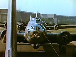 Still color photo of Boeing B-17 bombers in line ready to take off from the classic World War 2 film The Memphis Belle.