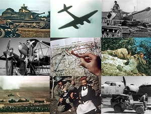 Still photos from films shot during the North African Campaign in World War 2: an M3 tank, a Messerschmidt Me 110 fighter/bomber, Patton's infantry in action, servicing a P-38 fighter, Tiger Tanks in action, and a Panzer Mk 3 tank.
