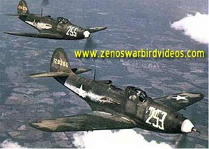 Photo of Bell P-39 Airacobra fighters in flight during World War 2.