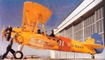 Photo of a Navy Stearman N2s Kaydet primary flight trainer taken during World War 2.