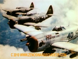 Color photo of Republic P-47 Thunderbolts of the 65th Fighter Squadron in action over Italy from the restored World War 2 classic film Thunderbolt!