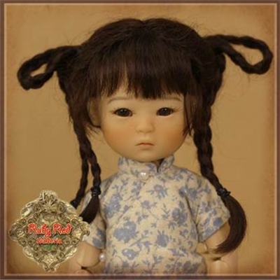 Wig - HD0040A  Ten Ping Brown Mohair Wig with Braids