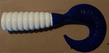"Predator Grub - 11"" Glow White Blue Tail"