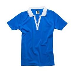 FootJoy Ladies V-Neck Stretch Pique Golf Shirt, Blue/White