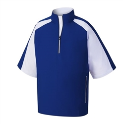 FootJoy Men's Short Sleeve Sport Windshirt, Blue/White