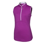 FootJoy Ladies Sleeveless Half-Zip Golf Shirt, Grape/White