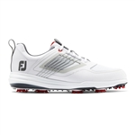 FoFootJoy FJ Fury Spiked Golf Shoes, White/Red -Style #51100 - 9.5