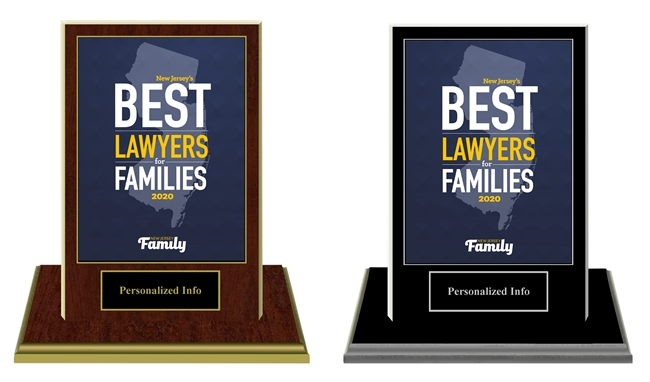 2020 NJ's Best Lawyers for Families Plaque w/Base