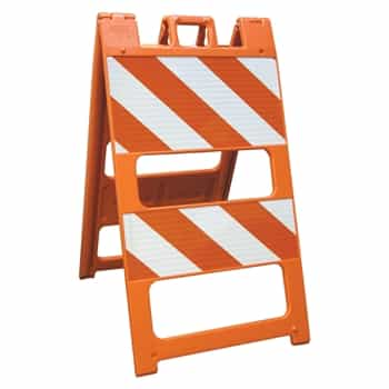 "Plasticade Barricade Type II Orange - 12"" X 24"" Top Panel  8"" X 24"" Bottom Panel