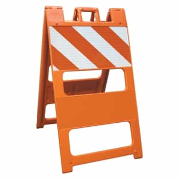 "Plasticade Barricade Type I Orange - 8"" X 24"" Top Panel Engineer Grade Striped Sheeting"