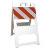 "Plasticade Barricade Type I White - 12"" x 24"" Top Panel Engineer Grade Striped Sheeting"
