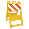 "Plasticade Barricade Type I Yellow - 12"" x 24"" Top Panel Diamond Grade Striped Sheeting"