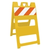 "Plasticade Barricade Type I Yellow - 8"" X 24"" Top Panel Engineer Grade Striped Sheeting"