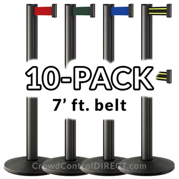 "Beltrac 3000DL ADA Compliant 7' ft. Double-Belt Stanchion, 14"" Sloped Base, 10-Pack"