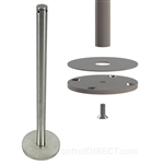 "Museum & Art Gallery Stanchion, 16"" Tall with Surface Mounted (Fixed) Base"