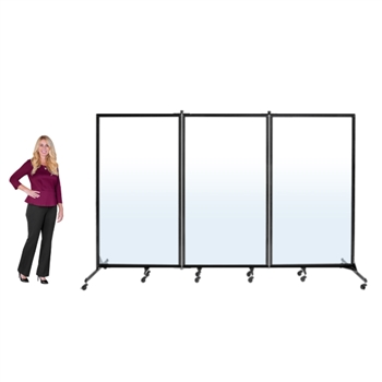 "Clear / See-through Room Divider - 3 Panel - 6' 2""H x 10' 0""L"