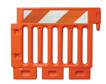 Strongwall ADA Orange Pedestrian Barricade with high intensity prismatic striped sheeting on one side - Top