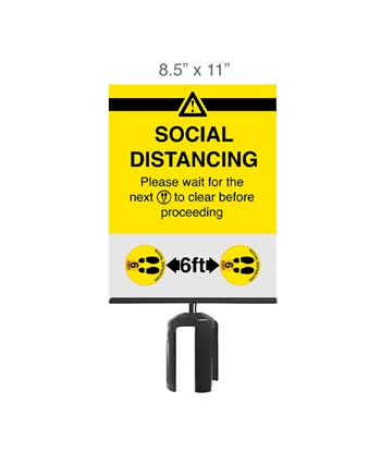 "Social Distancing Stanchion Signage 8.5"" x 11"" (6-pack)"