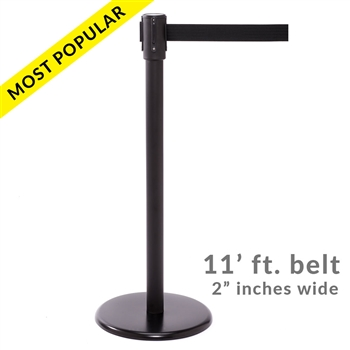 SALE - QueuePro 200B, Black Stanchion with 11' ft. belt