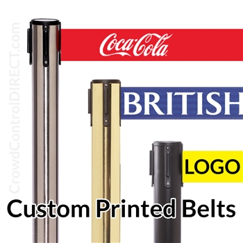 "(SPECIAL) Premium Belt Barrier with 11' ft X 3"" WIDE CUSTOM Printed Belt"