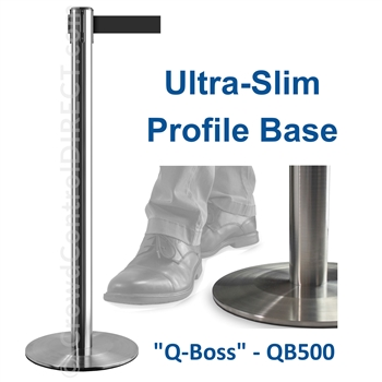 "Ultra-Slim Profile 11' ft. Belt Stanchion - Stainless Steel - ""Q-Boss"" QB500"