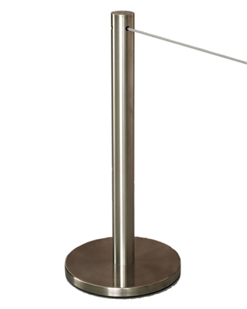 """Q-Cord"" Museum Stanchion with Retractable 7' Cord, Stainless Steel, 20"" H"