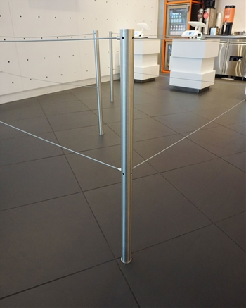 """Q-Cord"" Museum Barrier, Removable with Floor Socket"