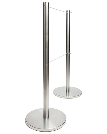 """Q-Cord"" Museum Stanchion with Retractable 7' Cord, Stainless Steel, 39"" H"