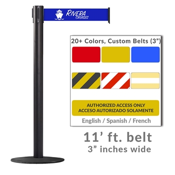 Belt Stanchion For Harsh Outdoor & Marine Environments, 3 Extra Wide Belt, 11 ft. - WPro 250 Xtra