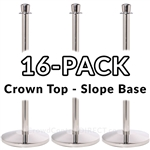 Economy Rope Stanchion Crown Top - Polished Steel - 16 PACK, H-4488