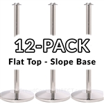 Economy Rope Stanchion Flat Top - Polished Steel - 12 PACK