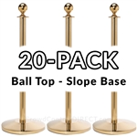Economy Rope Stanchion Ball Top - Polished Brass - 20 PACK