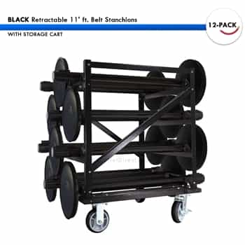 SET: 12 BLACK Retractable 11' ft. Belt Stanchions, with Storage Cart