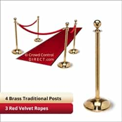 Brass Stanchion Kit: 4 + 3 velvet ropes (Ball Top with Dome Base)