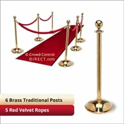 Brass Stanchion Kit: 6 + 5 velvet ropes (Ball Top with Dome Base)