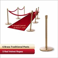 Brass Stanchion Kit: 6 + 5 velvet ropes (Crown Top with Flat Base)