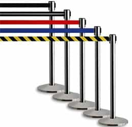 "Stainless Steel Queue Posts with 7'6"" Belt"