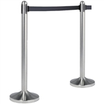 "American Metalcraft Securit RSRTBK 40"" Brushed Stainless Steel Crowd Control Stanchion with 84"" Black Retractable Belt"