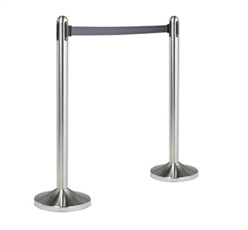 "American Metalcraft Securit� RSRTBK 40"" Brushed Stainless Steel Crowd Control Stanchion with 84"" Grey Retractable Belt"