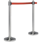 "American Metalcraft Securit RSRTRD 40"" Brushed Stainless Steel Crowd Control Stanchion with 84"" Red Retractable Belt"