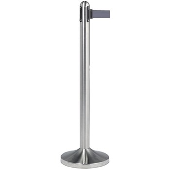 Securit Crowd Control Barrier, Brushed Stainless Steel Post Grey Belt NO BASE